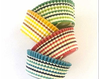 48 Pleated Stripes Cupcake Liners, Meri Meri Standard Size Baking Cups