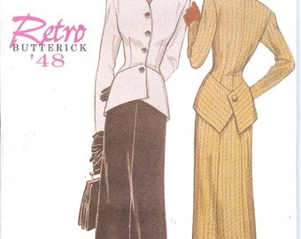 Butterick 6257  UNCUT Retro Butterick '48 Misses' Jacket and Skirt Sewing Pattern ID510