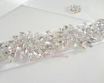 Diamond Sash, Bridal Sash, 5 Luxury Sparkle Crystallize Rhinestone Bridal Sash Belt, Wedding Sash, Beaded Sash, Bridal Accessories SB0008