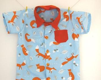 Fox shirt, fox print, fox gift, button down shirt, collared shirt, fox top, fox clothes, baby shirt, boys shirt, baby fox gift, baby boy