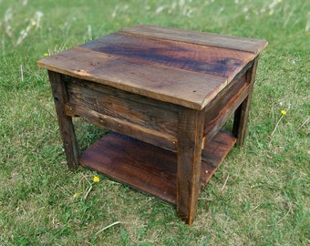 Reclaimed wood-barn wood side table- coffe table. Made with barn wood over 100 years old