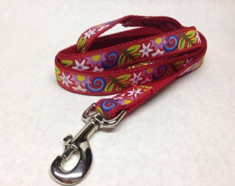 Red Floral Dog Leash