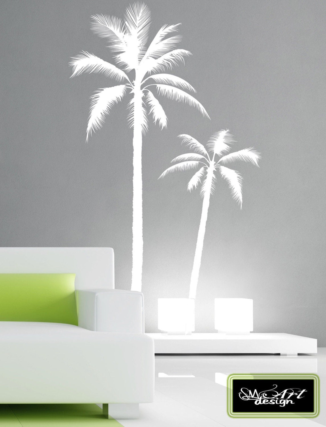set of 2 palm tree vinyl decal wall art wall stickers no. Black Bedroom Furniture Sets. Home Design Ideas