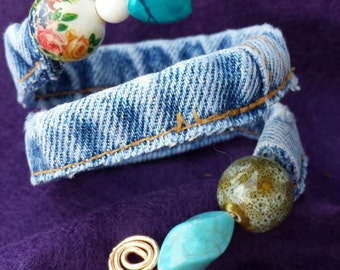 Unique One of a Kind Adjustable Recycled Denim Wrapped Wire Beaded Bracelet