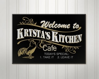 Nice Personalized Kitchen Sign, Cafe Sign, Personalized Sign, Personalized  Rooster Sign, Custom Wood