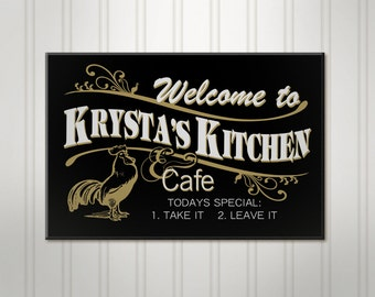 "Large Personalized Kitchen Sign, Cafe Sign, Rooster Sign, Custom Wood Sign, 18"" x 24"""