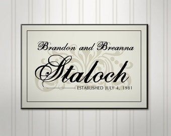 Family Name Sign, Ivory or Black, Wood Brush Script Sign, Personalized Wedding Sign, Custom Last Name Sign,