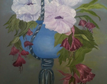 Flowers in Blue Hanging Pot
