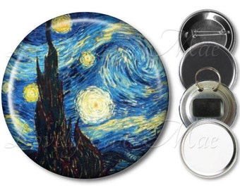 Van Gogh Starry Night Pocket Mirror, Starry Night Magnet, Starry Night Bottle Opener Key Ring, Pin Back Button Badge, Small Gifts, Keychain