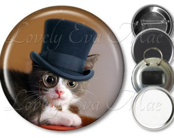 Steampunk Kitten Pocket Mirror, Magnet, Bottle Opener Key Ring, Pin Back Button