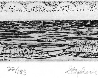 The Sea   -   Hand Printed,  Black & White  Original Intaglio Etching and Engraving, Limited Edition, Beach, Ocean, Vacation,