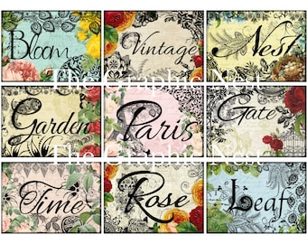 Shabby Chic garden words ATC cards. Digital download.