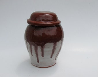Chocolate and Sand Wheel Thrown Pottery Jar with a Lid by Messy Girl Pottery