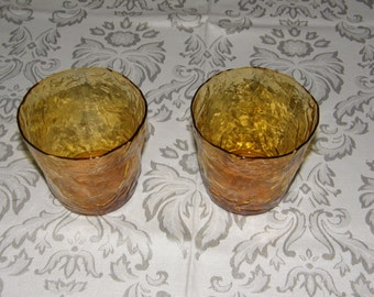Set of 2 Vintage Amber/Yellow Pressed Glass Tumblers