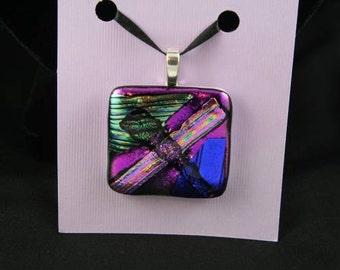 Vibrant metallic rectangular dichroic glass pendant