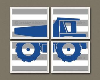 8x10 (4) DUMP TRUCK PRINTS - Nursery Art, Nursery Decor, Children's Art, Construction, Transportation - Dump Truck