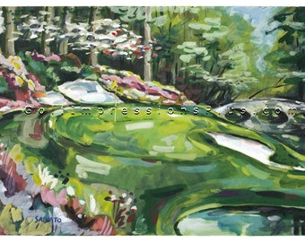 Fathers Day Gift. The Masters Tournament. Augusta National Golf Club. Print of original Watercolor Painting.