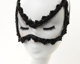 Black Lace Eye Mask/veil -Butterfly Style-Party Accessories-Bedroom Wear-Celebrities's favor