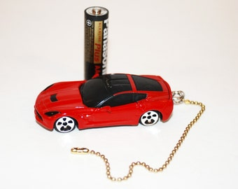 Red 2014 Corvette ceiling fan/light chain pull, Tree ornament, or key chain