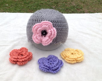 Scallop Edge Crochet Hat with Three Interchangeable Flowers