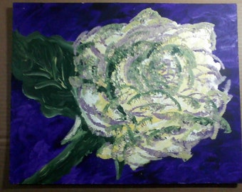 "Yellow Rose with Purple is a still life 11"" by 14"" in acrylic painted on board from life. Signed on back DMW. The yellow"