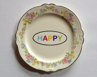 HAPPY - altered vintage plate