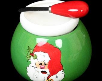 CLEARANCE SALE Ceramic Dip Bowl ~ Dip bowl and spreader ~ Hot/Cold Dip Bowl ~ Santa Dip Bowl Cheese Ball Dip Mix Christmas Santa Appetizer