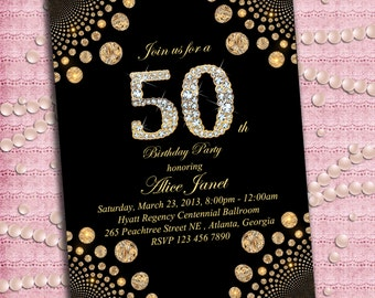 Elegant Gold and Brilliants Women's / Man's Birthday Party Invitation  21st 30th 40th 50th 60th 70th 80th 90th or any age- Printable DIY
