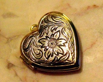 Silver and Gold colored Heart Shaped Locket Pendant