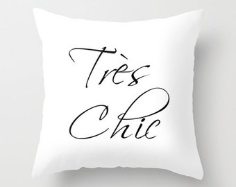 Tres Chic Paris Pillow, Paris Decor, Black and White Cushion Cover, White Throw Pillow Cover, Velvet Pillow, Gifts for Her, 18x18, 22x22