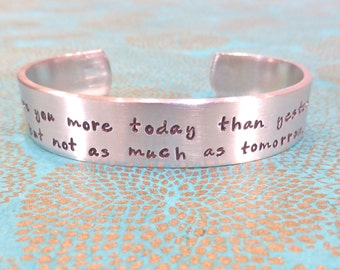 Wife | Fiance Gift - I love you more today than yesterday, but not as much as tomorrow - Custom Hand Stamped Bracelet by MadeByMishka.com