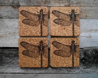 Dragonfly Cork Coaster Set of 4 - Laser engraved