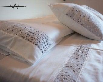 Sangallo wedding bedding set - double bed sheet + 2 pillowcases - wedding gift
