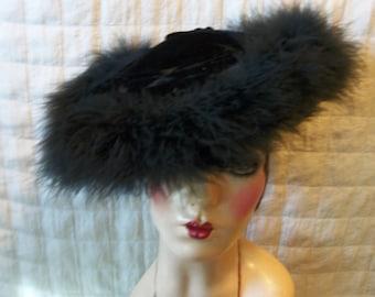 40s 50s Platter Vintage Hat Saucer Jet black velvet w/ feathers V19