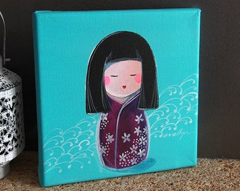 Acrylic on canvas Mini Kokeshi Tomiko