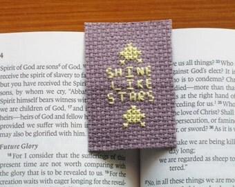 Cross stitch bookmark religious purple yellow shine like stars Bible verse literature embroidery needlepoint needlecraft Jesus Christianity