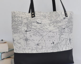 Maps and Planes Canvas and Leather Tote Bag in Grey and Black, Leather Handle Shoulder Bag