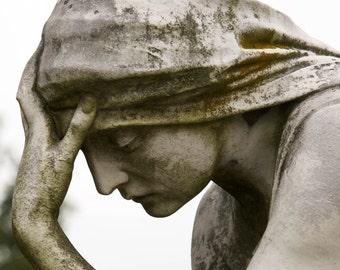 "Photo greeting card (blank inside) ""Weary"" cemetery statue sad weary fine art thoughtful"