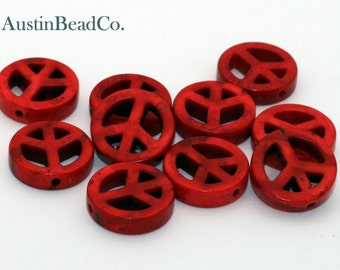 26pcs Peace Sign Beads, Side Drilled -Howlite, Magnesite, Turquenite, Stone - Red with Brown Marbling, 15mm (E079)