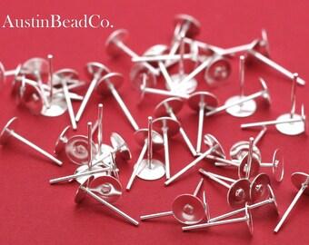 100pcs (50 pairs) Earring Post, Ear Stud, Earring Base, Earring Blank, NO BACKS - Silver Plated, 6mm X 12mm (H063)