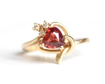 Heart Garnet with Diamonds Ring (1582)