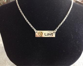 Silver Love Bar Necklace
