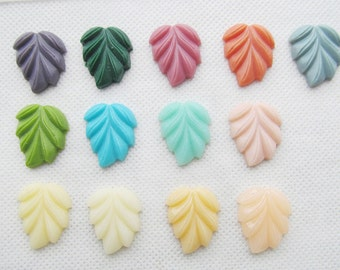 18.14mmx21.11mm Multiclor Colors Flatback Resin Leaf Cabochon Charm/Finding,Phone Decoration Kit,DIY Jewellerry  Making Accessory