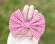 Red White Checks Pattern Seersucker Fabric Hair Bow Alligator / Barrette For Girls Hair Accessory For All Hair Types
