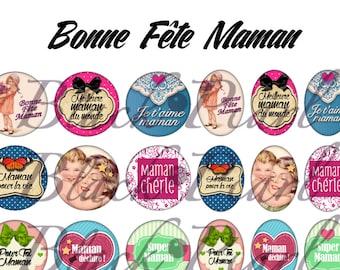 Bonne Fête Maman ll - Page of digital images for cabochons - 60 frames