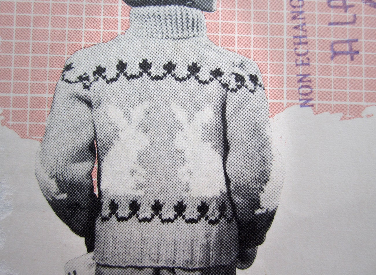 Bunny Rabbit Sweater Knitting Pattern 1957 Vintage Mary