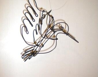 Hummingbird--3-D steel wire sculpture