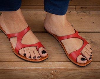 Red Leather Sandals, Red Sandals, Asymmetric Sandals, Summer Shoes, Flipflops, Flat Sandals , Free Shipping