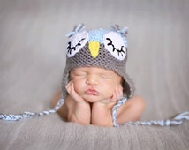 Sleeping Owl hat, photo prop, newborn hat, baby shower, blue owl hat, blue grey boy hat, sleepy owl hat, owl baby shower gift, blue baby hat