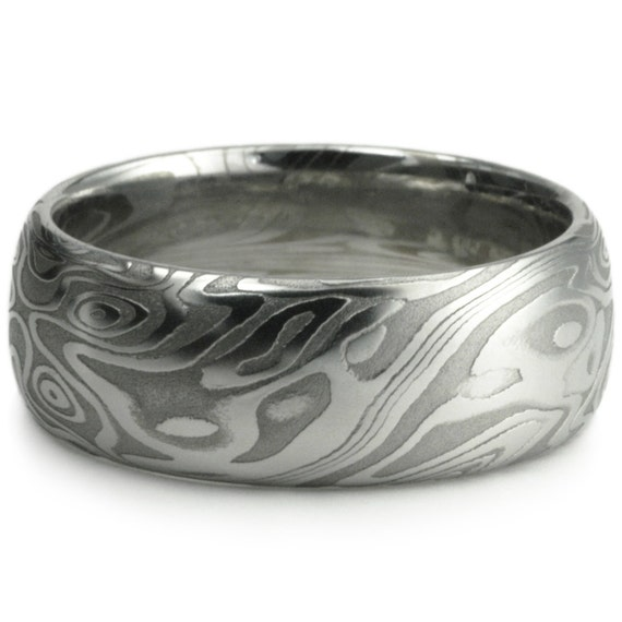 Damascus Steel Wide Mens Wedding Band Four Pointed Swirling Star ...